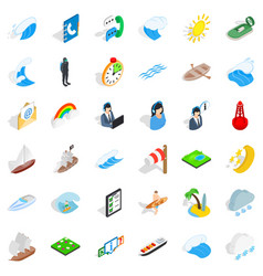 Seaworthy icons set isometric style vector