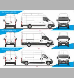 Set cargo delivery vans l3h3 2020 vector