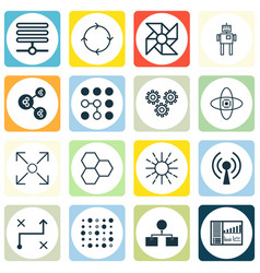 Set of 16 robotics icons includes controlling vector