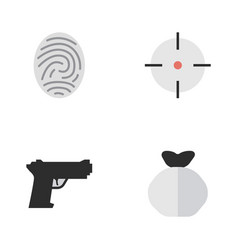 set of simple offense icons vector image