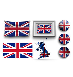 set of united kingdom flags collection isolated vector image