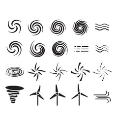 set of wind icons in many style vector image