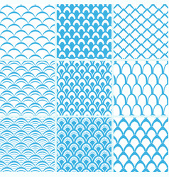 Set seamless pattern scales vector