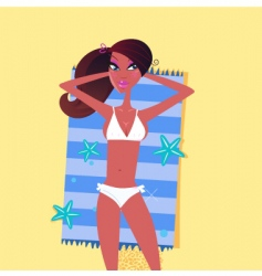 sexy negro beach girl vector image