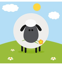Sheep on a Farm Backdrop vector image