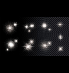 shine silver stars isolated lights festival vector image