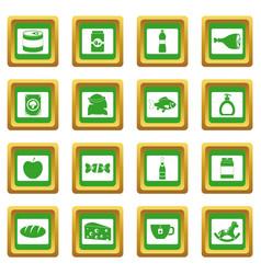 Shop navigation foods icons set green vector