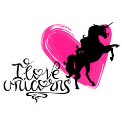 silhouette of a unicorn against a background of vector image