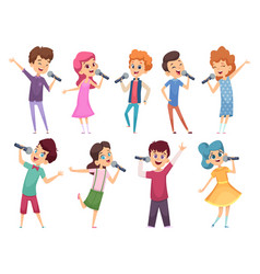 singing childrens male and female kids standing vector image