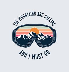 snowboarding or ski goggles protective mask emblem vector image