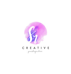 sr watercolor letter logo design with purple vector image