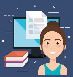 Student using computer desktop electronic vector