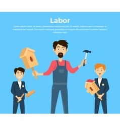 Subject of Labor Education Conceptual Banner vector image