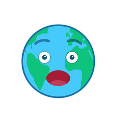 Surprised world globe isolated emoticon vector