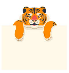 tiger cub with empty template for text vector image
