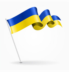 Ukrainian pin wavy flag vector