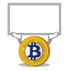 Up board bitcoin gold character cartoon vector