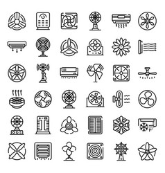 Ventilator icons set outline style vector