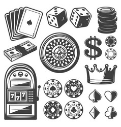 Vintage casino elements set vector