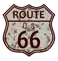 Weathered route 66 sign vector