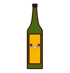 wine glass bottle kawaii cute cartoon vector image
