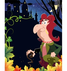 Witch near the castle vector image