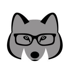 wolf face in glasses front vector image