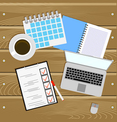Work place planning and organization work table vector