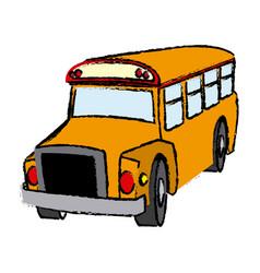 Yellow bus vehicle school transport vector