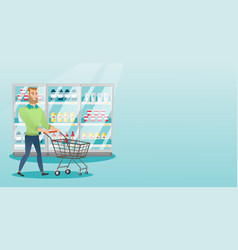 young caucasian man with supermarket trolley vector image