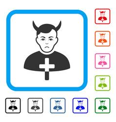 Satan priest framed sad icon vector