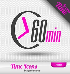 Time Icon 60 Minutes Symbol Design Elements vector image vector image