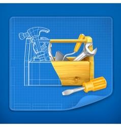 Tool box blue print vector image