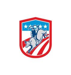 American Rodeo Cowboy Bull Riding Shield Retro vector image vector image