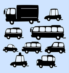 Cartoon truck bus car silhouette template vector