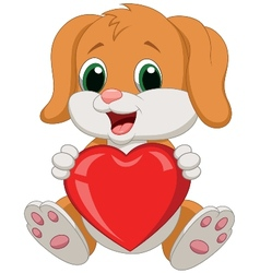 Dog cartoon holding red heart vector image vector image