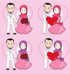 Muslim wedding couple vector image vector image