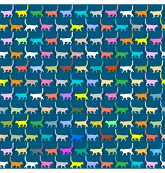 Seamless wallpaper with colorful silhouettes cats vector image vector image