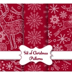 Snowflakes and derers seamless pattern set vector image vector image