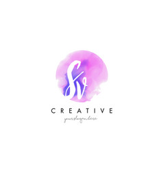 sv watercolor letter logo design with purple vector image