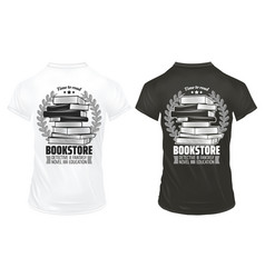 vintage bookstore prints on shirts template vector image vector image