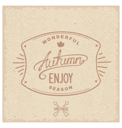 Vintage hipster autumn label vector image vector image