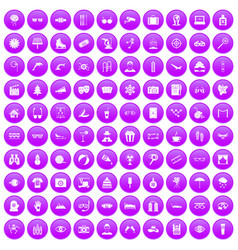 100 glasses icons set purple vector image vector image