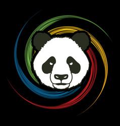 angry panda head cartoon fat panda face vector image vector image