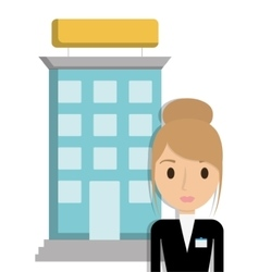 Building and receptionist of hotel design vector