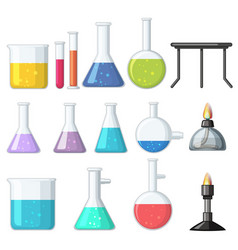 different types of beakers and burners vector image