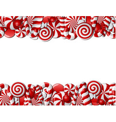 Frame made of red and white candies vector image