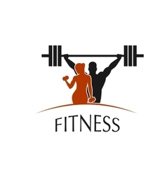 label fitness club with the image of women and men vector image