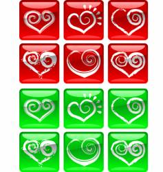 love heart icons vector image vector image
