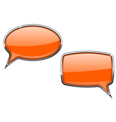 orange speech bubbles round and square 3d icons vector image vector image